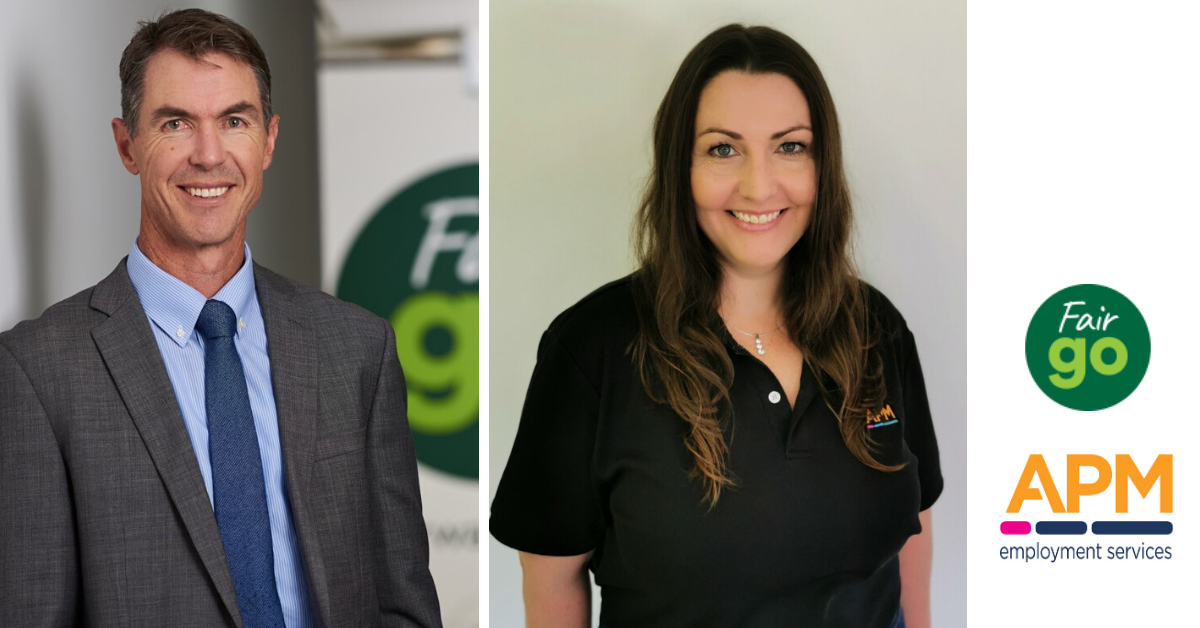 Paul Walshe, CEO, Fair Go Finance and Kylie Alexander, Business Manager, APM Employment Services