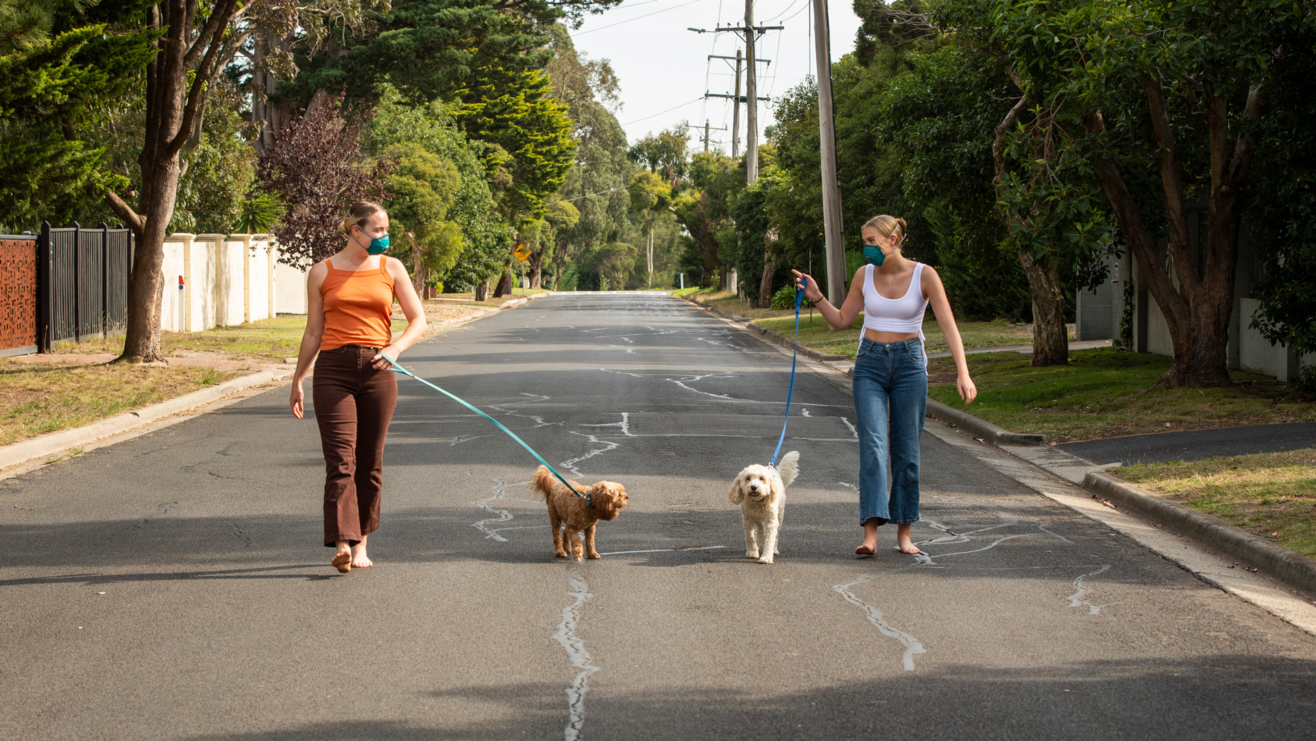 Two women wearing masks walking their dogs in a leafy suburb