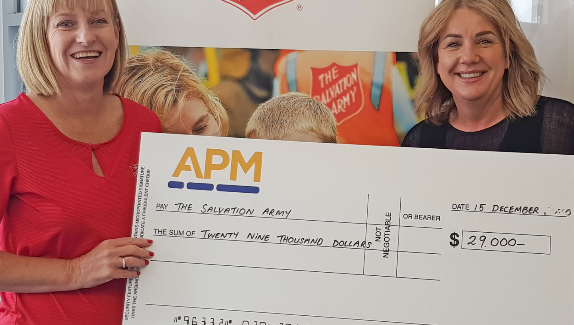 The Salvation Army's Relationship Manager Corporate Partnerships, Jayne Campbell, and APM Employment Services CEO Karen Rainbow with the cheque for $29,000