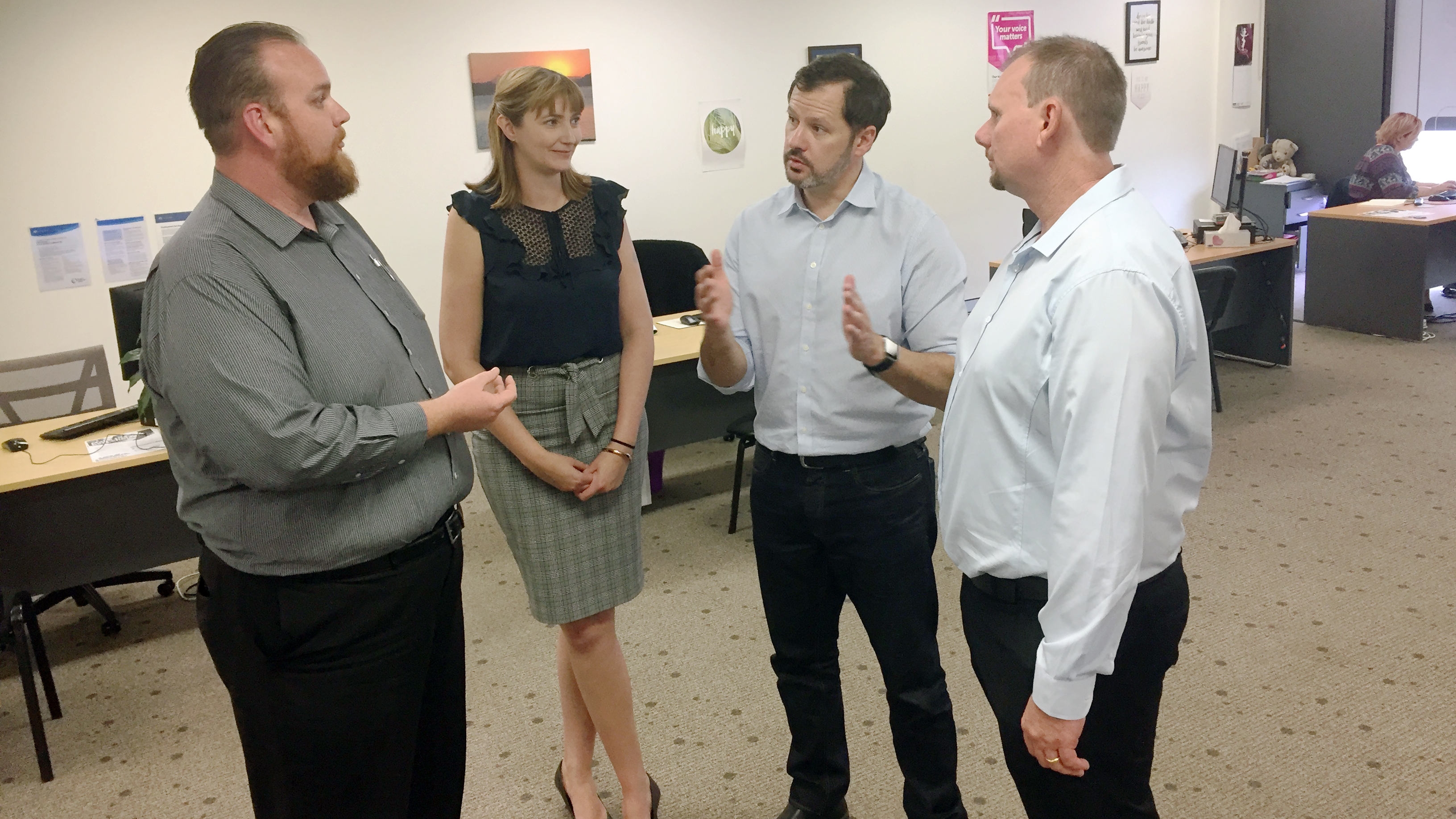 Michael Stevens and Zoey Hunt from APM, Ed Husic Opposition Minister, Russell Robertson – who is running for federal parliament in Capricornia.